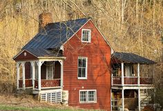sweet little red house abandoned rural Virginia