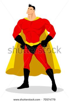 Stock vector of a superhero posing - stock vector, illustration, cartoon, character