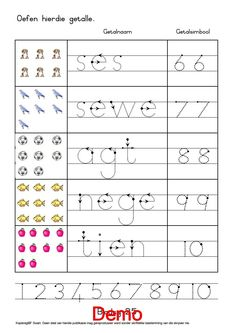 First Grade Worksheets, Tracing Worksheets, Worksheets For Kids, Preschool Learning, Preschool Activities, Teaching Kids, Counting Activities, Work Activities, Afrikaans Language