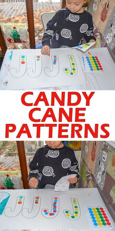 Candy Cane Patterns – HAPPY TODDLER PLAYTIME #toddler #preschool #kindergarten #earlymath #finemotorskills #christmasactivity Here is a simple to set up early math Christmas activity perfect for toddlers and preschoolers. Create patterns on a candy cane!