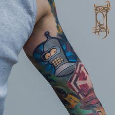 Sick #Bender #Tattoo by Tymur Denysenko. Human arm belongs to my99reality | #Futurama