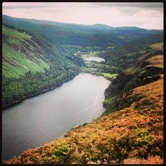 Beautiful view of the lakes in Glendalough, in the Wicklow Mountains National Park, Ireland - going here!!