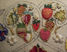 Historical Sampler – The final Strawberry and Mixed Purl Leaves; Elmsley Rose