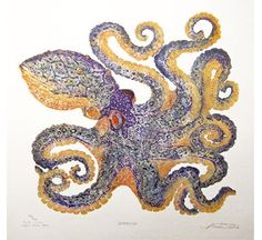Love this octopus etching by Matthew Smith