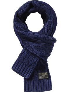 Special washed cable knitted scarf - Accessories - Scotch & Soda Online Shop Scotch Soda, Mens Knitted Scarf, Knit Scarves, Loom Scarf, Skirt Pattern Free, Knit Skirt, Knitting Accessories, Knit Jacket, Easy Knitting