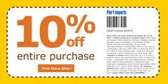 """https://twitter.com/Pier1Coupon. Pier one imports 10% OFF Entire Purchase. 10% OFF entire Site with code """"FALLSAVINGS"""" or Print coupon redeem in Store. http://pier1coupon.com/"""