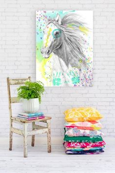 Pastel horse painting..DIY for bedroom