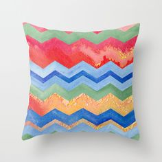 Watercolor Chevron Happiness Throw Pillow