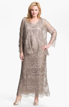 Plus Size Womens 1920s style dress -  Soulmates Silk Crochet Shell Skirt  Jacket Size 1X - Brown $322.80 AT vintagedancer.com