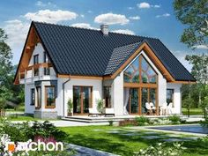 Village House Design, Tiny House Design, Modern House Design, Modern Bungalow Exterior, Dream House Exterior, Cottage Floor Plans, Small House Plans, Casas Country, One Storey House