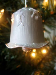 Snowflake Kissed Bell Ornament, on Etsy Christmas Crafts For Kids, Christmas Time, Christmas Decorations, Christmas Ornaments, Holiday, Cup Crafts, Diy And Crafts, Dosette Nespresso, Recycled Crafts