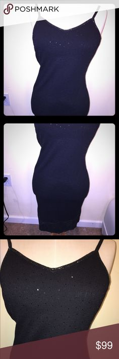"St. John Cami Sequin Lace Trimmed Evening Dress Beautiful vintage St. John thin strap sequin evening dress| very detailed; trimmed in black sequin around bust | 3.5"" Lace and sequin border | ➖size & measurements: 2; bust 34.25""-34.75 | Waist: 26-26.75"" | Hips: 36""-36.75"" St. John Dresses Midi"