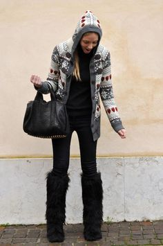 faux fur boots and maxi Christmas sweater