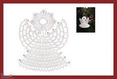 karácsonyi minta 4 Crochet Christmas Ornaments, Christmas Angels, Christmas Crafts, Christmas Decorations, Holiday Decor, Crochet Snowflake Pattern, Crochet Snowflakes, Crochet Patterns, Crochet Chart