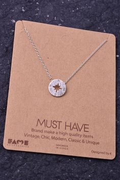 Piace Boutique - Small Compass Necklace, $14.00 (http://www.piaceboutique.com/small-compass-necklace/)