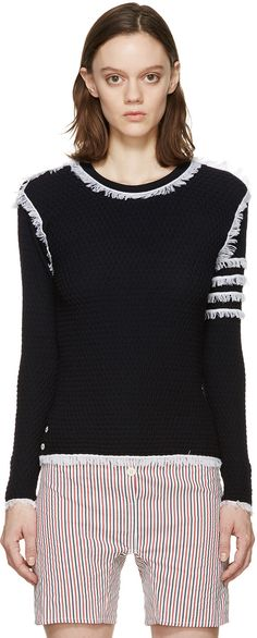 Thom Browne - Navy Fringed Waffle Knit Pullover