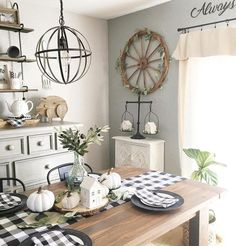 # Who's ready for dinner? Looks like your table is all set for a stylish meal. Love the buffalo check, and those adorable white houses delicately balancing on our Scale and gracing your dining table are just so cute! Antique Farmhouse, Country Farmhouse Decor, Farmhouse Style, Urban Farmhouse, Country Kitchen, Dining Room Inspiration, Decoration, Home Furniture, Sweet Home