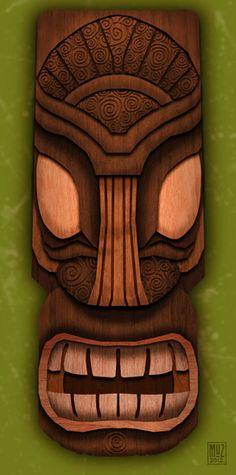 Wooden Tiki Head Mask - inspiration for an ATC Arte Tribal, Tribal Art, Tiki Man, Tiki Tiki, Tiki Decor, Tiki Totem, Tiki Lounge, Vintage Tiki, Art Premier