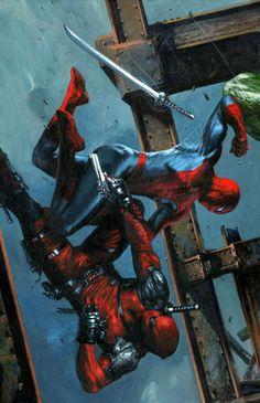 Spider-Man vs Deadpool by Gabriele Dell'Otto #CivilWar