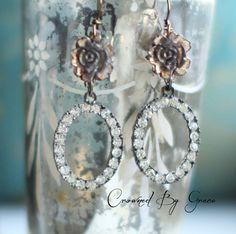 Rhinestone Roses  vintage assemblage earrings by crownedbygrace