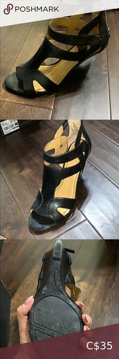 Nine West wedge sandals Excellent condition black leather wedge sandals from Nine West. Size is 8 1/2 Nine West Shoes Sandals Caged Sandals, Leather Wedge Sandals, Open Toe Sandals, Suede Sandals, Leather Wedges, Leather Sandals, Women's Shoes Sandals, Green Sandals, Floral Sandals