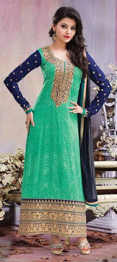 409569, Bollywood Salwar Kameez, Faux Georgette, Patch, Zari, Border, Thread, Green Color Family