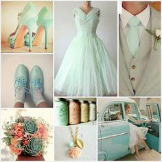 Aqua, peach and gray wedding. Yes! I finally found my wedding colors!