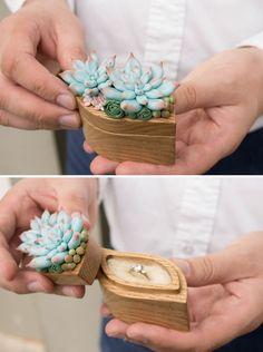 Blue Succulent Ring Box