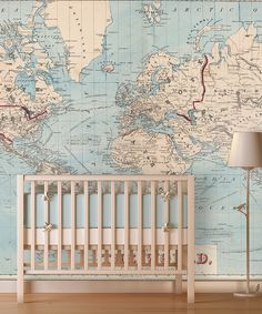 love this idea! Vintage Shipping Routes World Map Wallpaper
