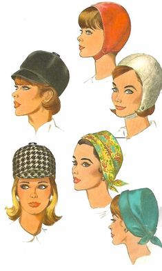 Vintage 1960's Sewing Pattern Ladies Hats Equestrian Millinery One Size