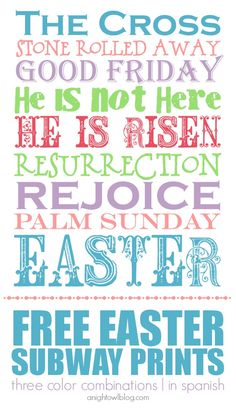 Free Easter Subway Prints - 3 color combinations and in Spanish too! #yearofcelebrations #easter