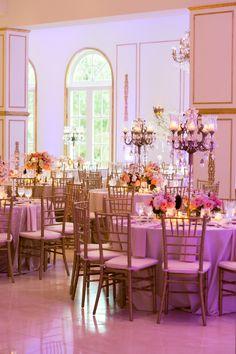 Ivory, Gold & Pink Wedding Reception ~ Venue: Chateau Cocomar ~ Photo: Jonathan Ivy Photography #Wedding #Decor #Venue #WeddingInspiration #WeddingIdeas #Ivory #Gold #WeddingReception