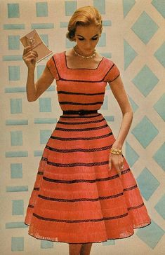 Orange and Black Hairpin Lace Crochet Dress. McCall's-Needlework-1954-55.