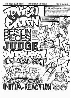 Token Entry, Rest in Pieces, Judge, Outburst, Gut Instinct, 4 Walls Falling punk hardcore flyer