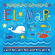 El Mar Ocean Animals in Spanish for Kids. Whale, Fish, Crab and Fish