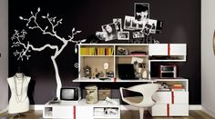 Tree Wall Stickers Decals and Modern White Furniture in Dark Teenage Girls Bedroom Paint Decorating Design Ideas Beautiful Paint Ideas in Teenage Girls Bedroom Decorating Ideas Teen Room Furniture, Bedroom Furniture Design, Teen Room Decor, Bedroom Decor, White Furniture, Bedroom Ideas, Modern Bedroom, Modern Furniture, Black Bedrooms