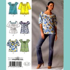 535 Womens Loose Fitting Pullover Tops, sizes 6 to 14, Easy Hippie Era Sewing Pattern, Uncut Simplicity 2931. $5.45, via Etsy.