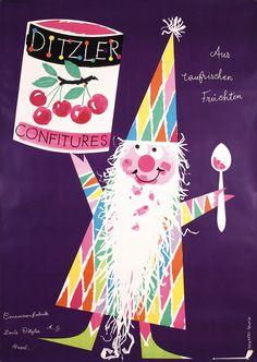 Ditzler Confitures poster, Herbert Leupin, c. 1950s
