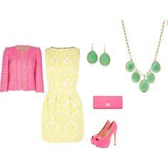 """Light Summer - yellow - pink inspiration"" by adriana-cizikova on Polyvore"