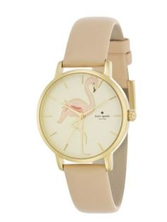 """Metro"" Flamingo Watch with Soft Rosette Leather Band 