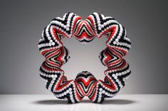 Suzanne Golden, Black, White and Red Bracelet, tubular, spiral peyote stitching
