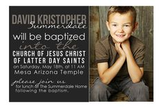 LDS Custom Baptism Photo Invitation Boy/Girl by LemonsThatArePink