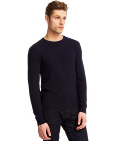 Kenneth Cole New York Pique Crew-Neck Sweater Men - Sweaters - Macy s b4615c586