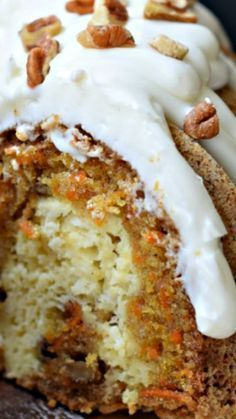 Carrot Bundt Cake ~a cheesecake filling and cream cheese frosting... the best dessert ever!