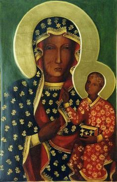 Our Lady of Czestochowa (The Black Madonna), Poland Blessed Mother Mary, Blessed Virgin Mary, Religious Icons, Religious Art, Sainte Rita, Our Lady Of Czestochowa, Madonna And Child, John The Baptist, Arte Popular