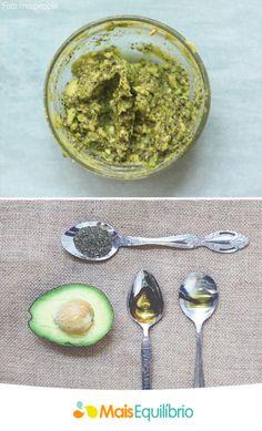 Máscara de abacate para hidratar os cabelos! Para a receitinha misture em um recipiente médio, ½ abacate, 1 colher de sopa de mel, 1 colher de sopa de óleo de abacate (pode substituir pelo azeite) e 1 colher de sopa de chá de hortelã seco.   Descubra por que o óleo de abacate faz tão bem para os cabelos http://maisequilibrio.com.br/cabelos-hidratados-a-base-de-oleos-6-1-5-516.html