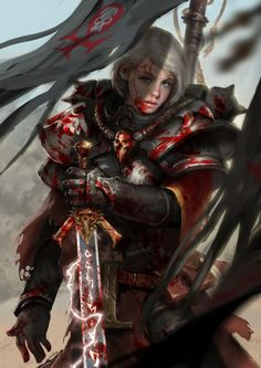 spassundspiele:  Battle Sister – Warhammer 40K fan art by yang zheyy