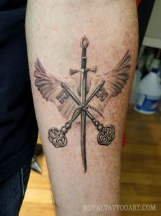 Realistic Wings, Keys  Sword Tattoo
