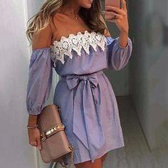 710fc15065cc3 Womens Striped Lace Dress Off Shoulder Summer Party Short Mini Dresses