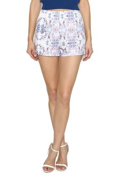 Printed in the vibrant white, lilac and blue kaleidoscope diamond print, these shorts are high waisted and have a back zipper closure.    Diamond Allegra Short by The House of Perna. Clothing - Shorts - Mini Clothing - Shorts - Printed Delray Beach, Florida